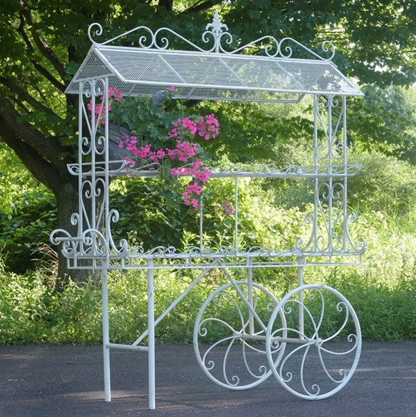 "Large ""Stephania"" Two Tier Antique White Flower Cart"