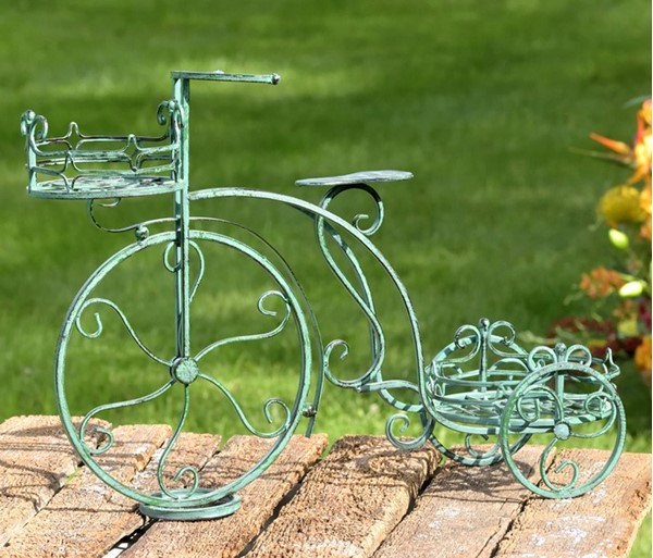 Two Pot Tricycle Plant Stand in Verdi Green