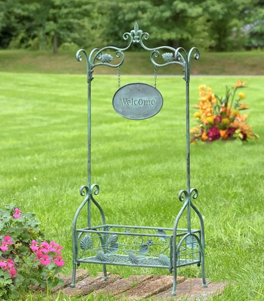 Rectangular Plant Stand with Arch and Welcome Sign in Antique Green