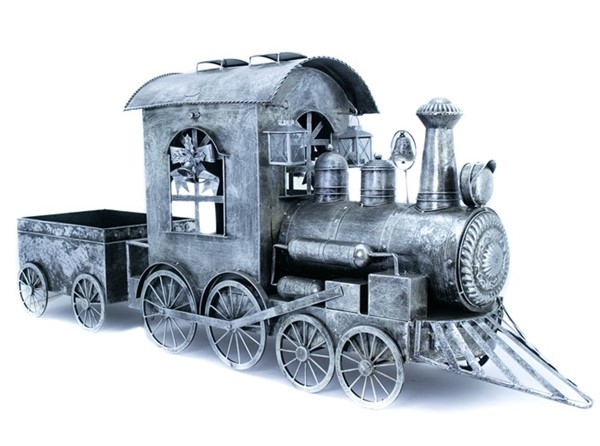 Small Silver Christmas Train with Cart