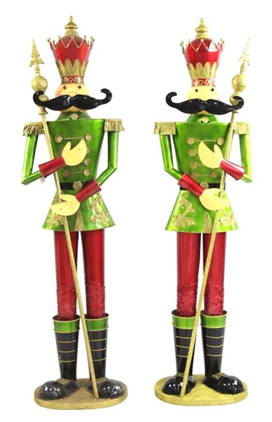 "Set of Two 72"" Nutcracker Figurines ""Valiko"" in Green"