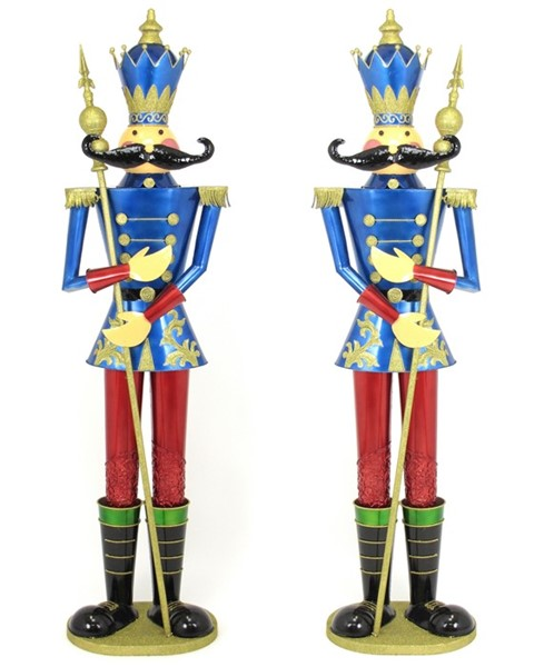 "Set of Two 72"" Nutcracker Figurines ""Valiko"" in Blue"