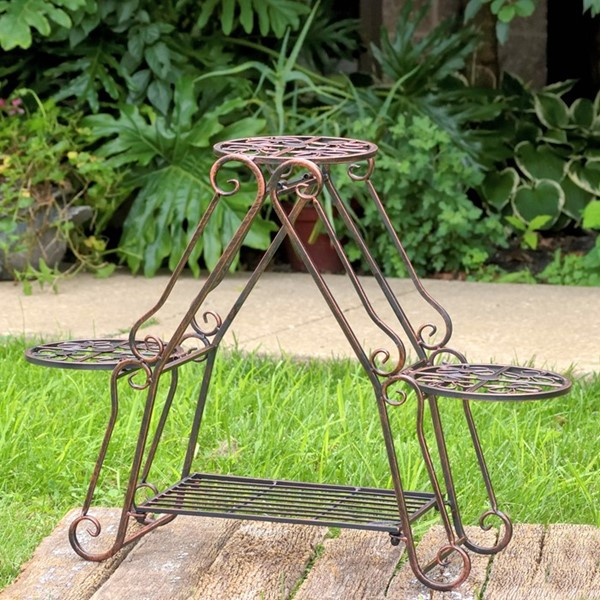 Folding 3 Pot Plant Stand in Bronze Finish