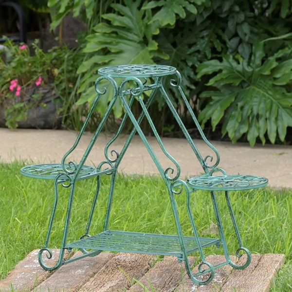 Folding 3 Pot Plant Stand in Verdi Green