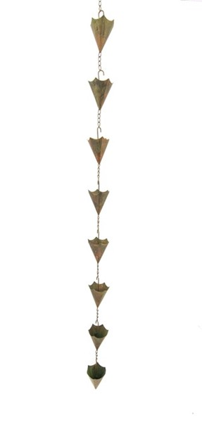Umbrella Rain Chain in Antique Copper Finish
