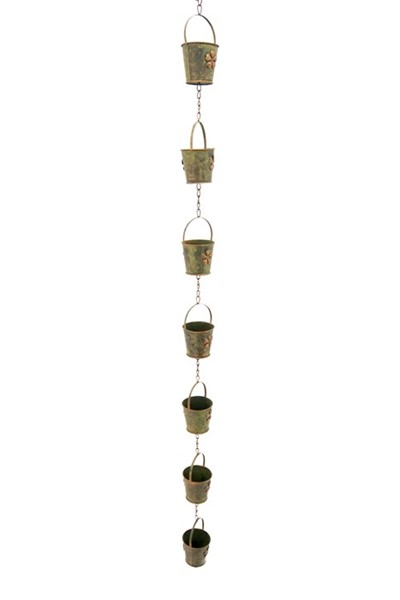 Bucket Rain Chain in Antique Copper Finish