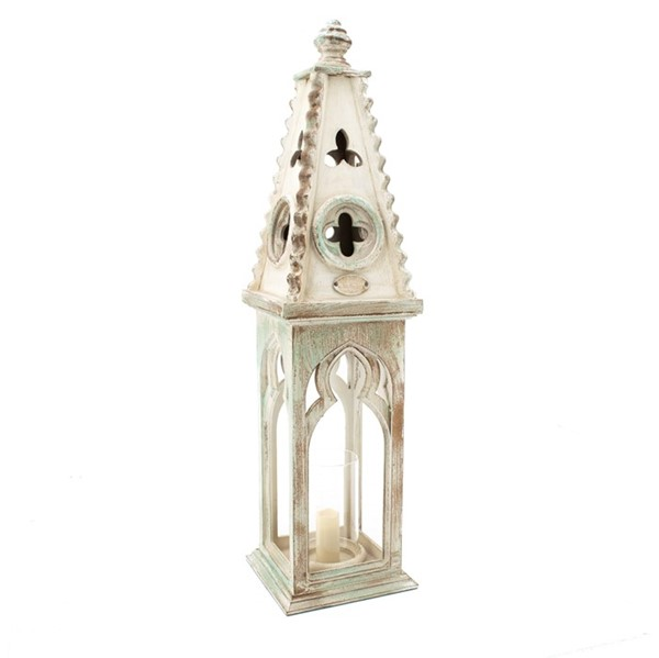 Set of 2 Church Style Wooden Lanterns