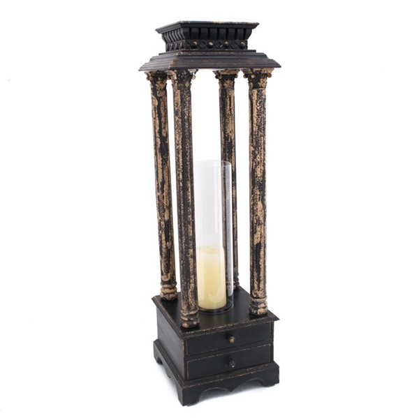 Old Style Hurricane Lantern in Antique Black
