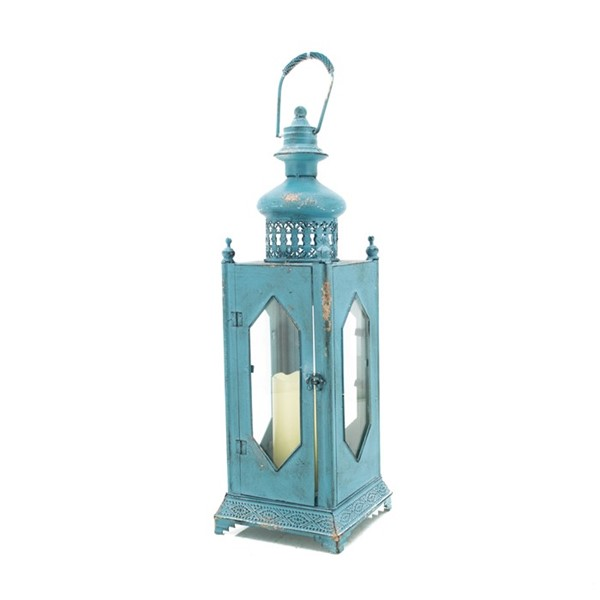 Lantern with Diamond Shaped Cutout in Frosted Blue