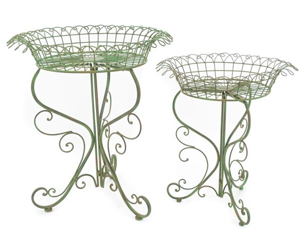 Set of 2 Round Basket Plant Stands in Antique Green