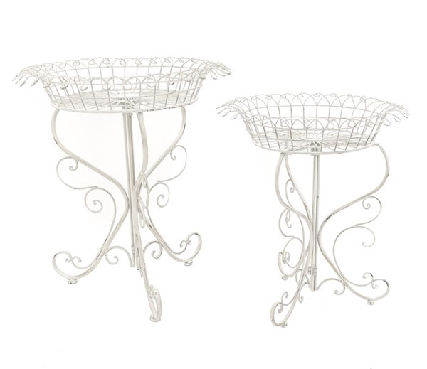 Set of 2 Round Basket Plant Stands in Antique White