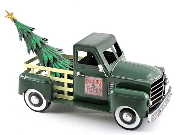 Small Green Truck with Christmas Tree