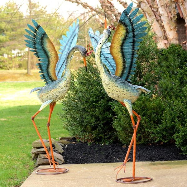 Set of 2 Large Iron Dancing Cranes