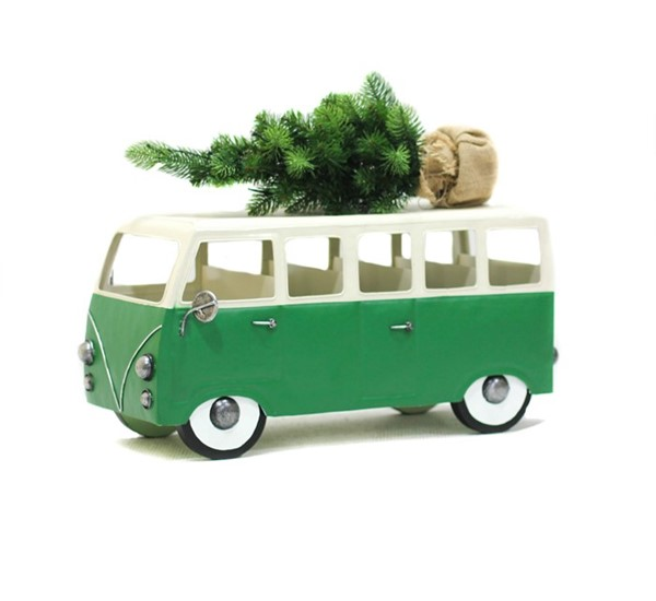 VW INSPIRED CHRISTMAS TREE BUS, GREEN