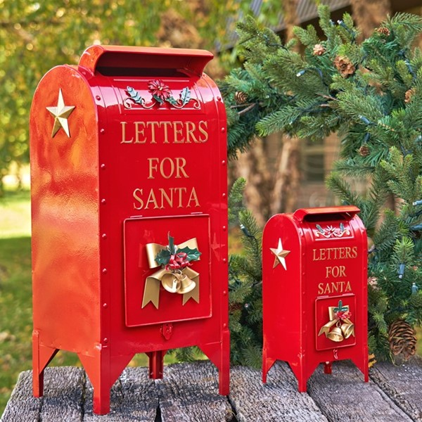 "SET OF 2 CHRISTMAS ""LETTERS FOR SANTA"" MAILBOXES, MEDIUM AND SMALL"