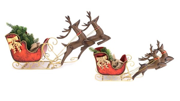 SET OF 2 CHRISTMAS SLEIGH W/ REINDEER