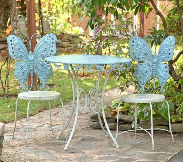 Butterfly Bistro Set Round Table With The 2 chairs Frosted Blue