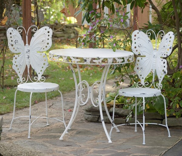 Butterfly Bistro Set  Round Table With The 2 chairs Antique White