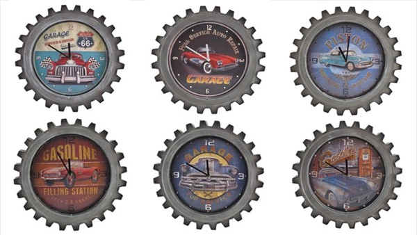 Set of 6 Vintage Style Muscle Car Gear-Shaped Iron Wall Clocks