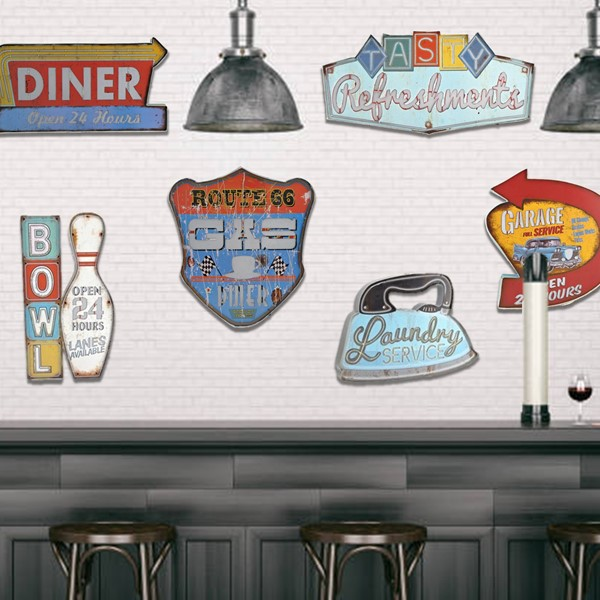 "SET/6 VINTAGE ""NIFTY FIFTIES""  LIGHT UP WALL SIGNS"