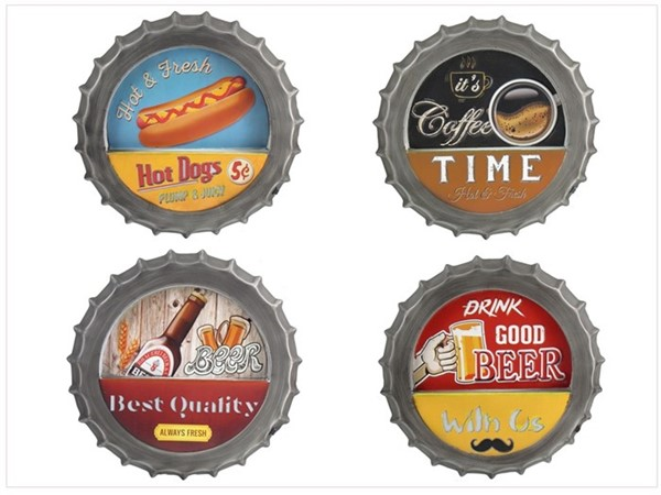 Set of 4 Light Up Bottle Cap Wall Decor
