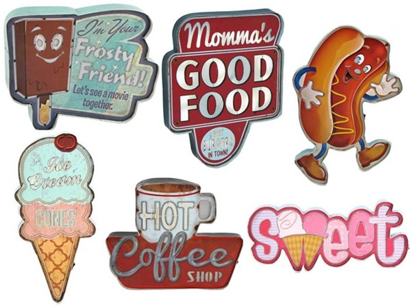Set of 6 Light Up Vintage Style Restaurant Wall Signs