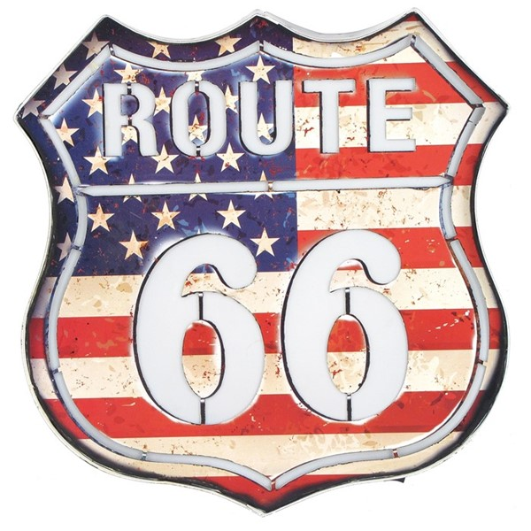 "Vintage Style ""Route 66 "" American Flag Light Up Sign"