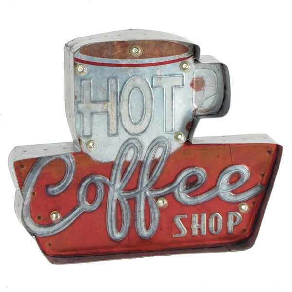 """HOT COFFEE"" LIGHT-UP WALL HANGING SIGN"