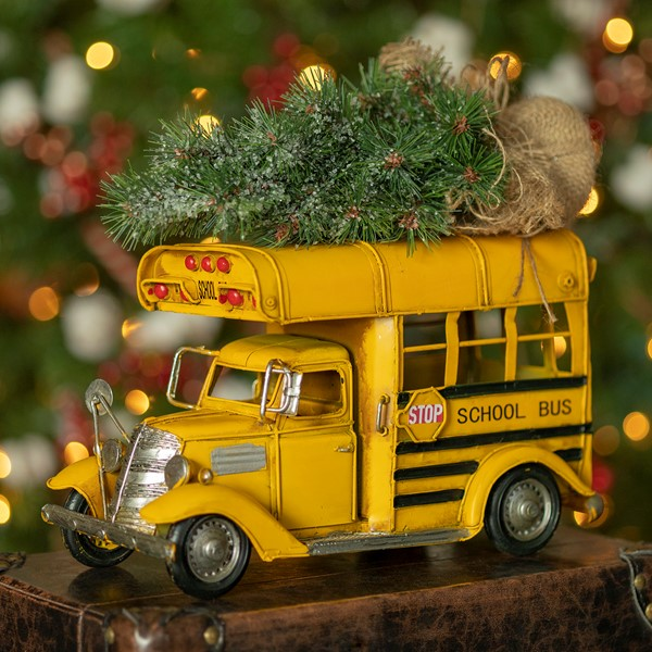 Vintage Style Small Conversion School Bus with Christmas Tree & LED Lights