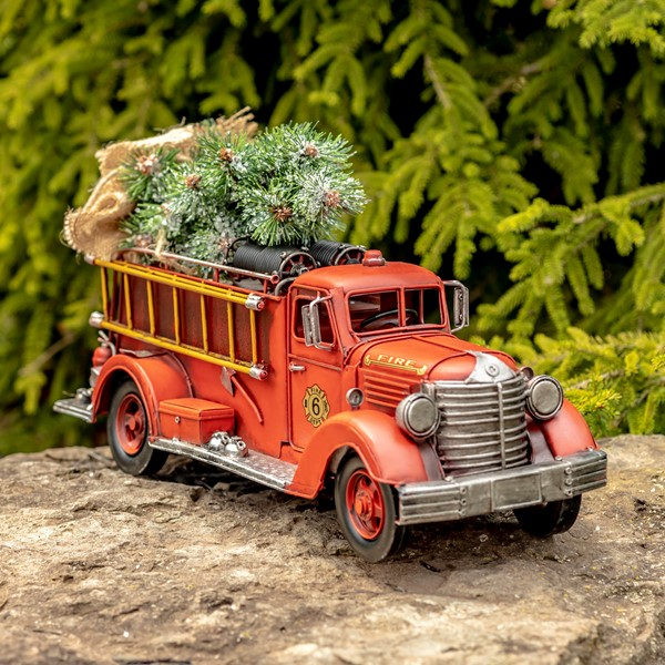 Model Vintage Style Fire Truck with Christmas Tree and LED Lights