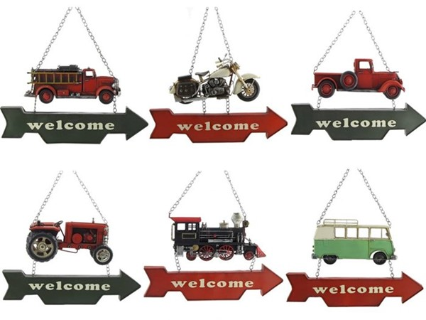 "SET/6 ASST. AUTOMOBILE VINTAGE IRON ""WELCOME"" SIGNS"