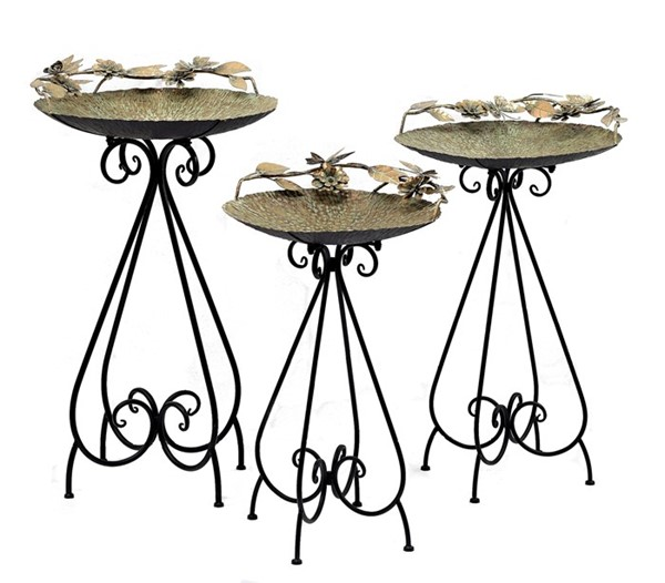 "Set of 3 Frosted Gold Iron Bird Baths with Butterflies ""Luciana"""
