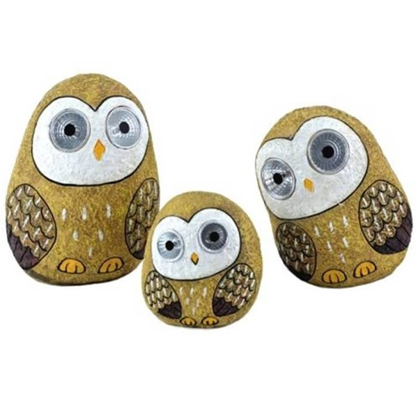 Set of 3 Solar Owls with Light Up Eyes in Tan Brown