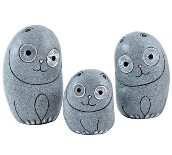 Set of 3 Solar Cats with Light Up Eyes in Grey