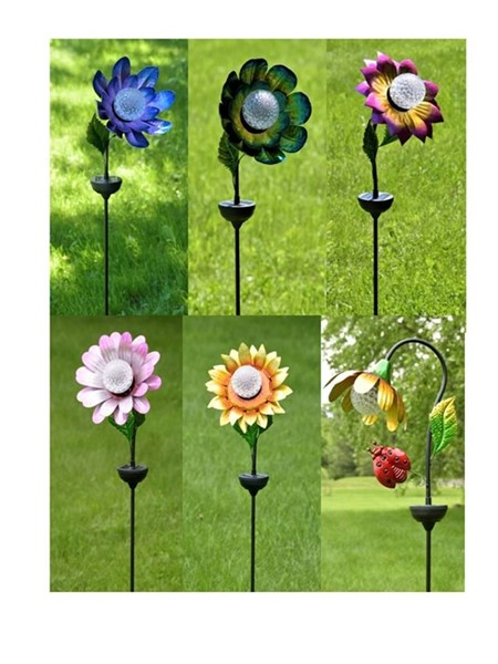 Set of 6 Assorted Style & Color Iron Flower Stakes with Solar Rotating LED Light