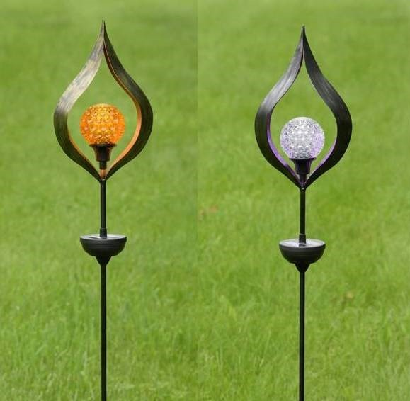 Solar Spinning Raindrop Style Stakes with LED Lights in 2 Assorted Colors