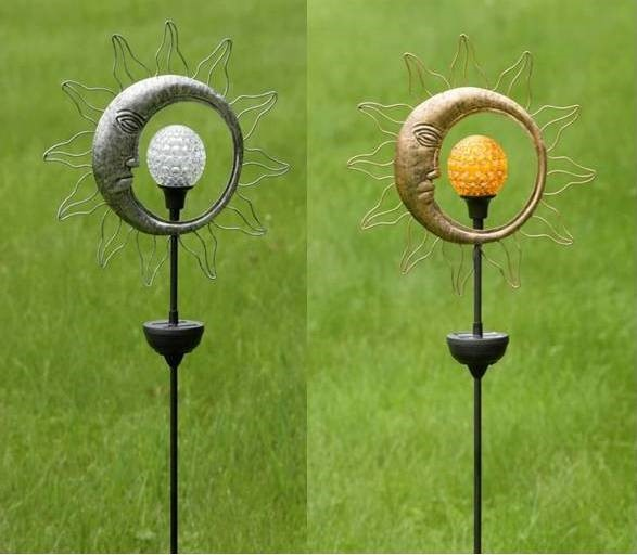 Dual Sun & Moon Solar Spinning LED Garden Stakes in 2 Assorted Colors