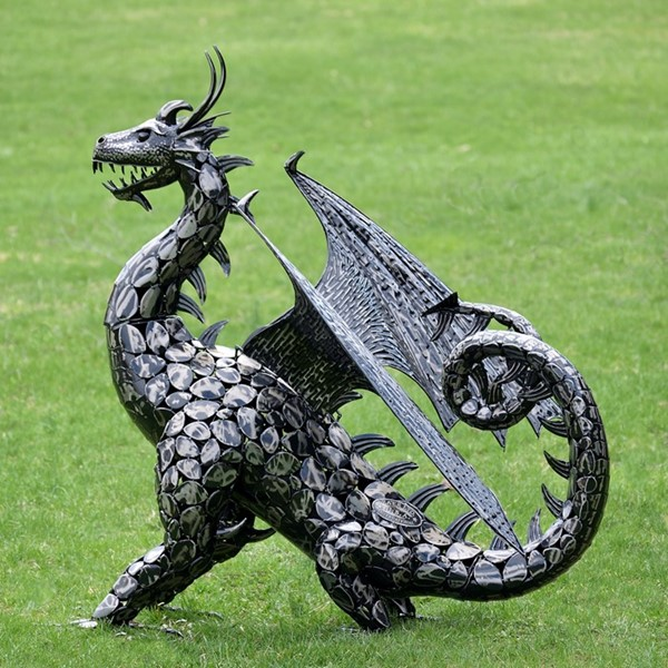 "Large Iron ""IGOR"" Dragon Statue with Open Wings"