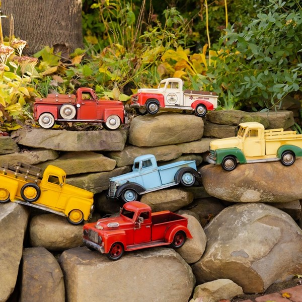 Set of 6 Assorted Color Small Vintage Iron Trucks