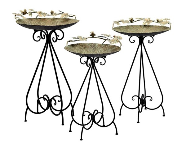 "Set of 3 Frosted Gold Iron Bird Baths with Little Bird Detail ""Stephania"""