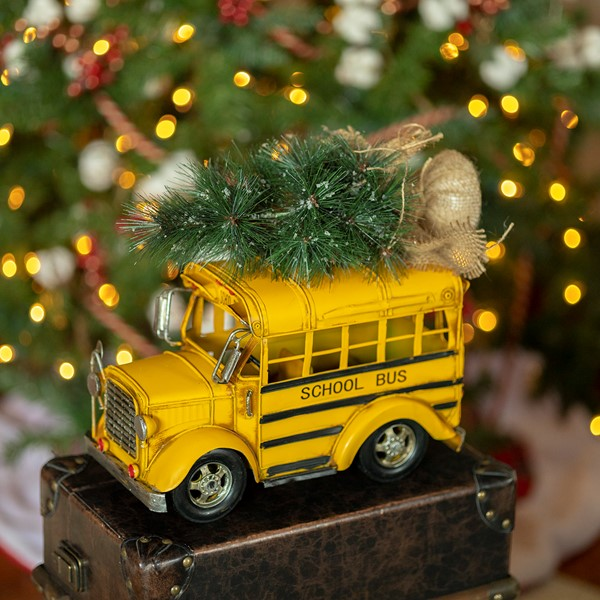 Vintage Style Yellow Model School Bus with Christmas Tree