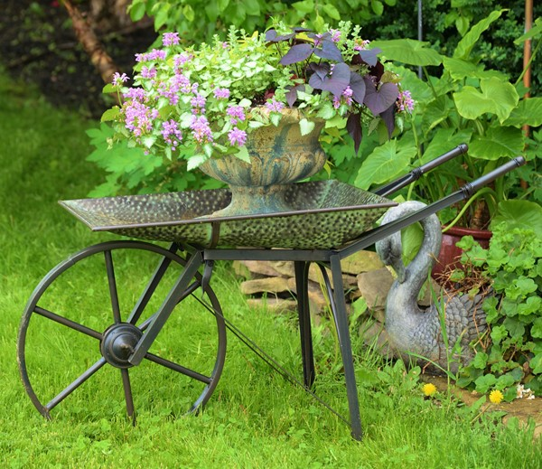 OLD STYLE GALVANIZED FARMHOUSE WHEELBARROW W/MOVING WHEEL