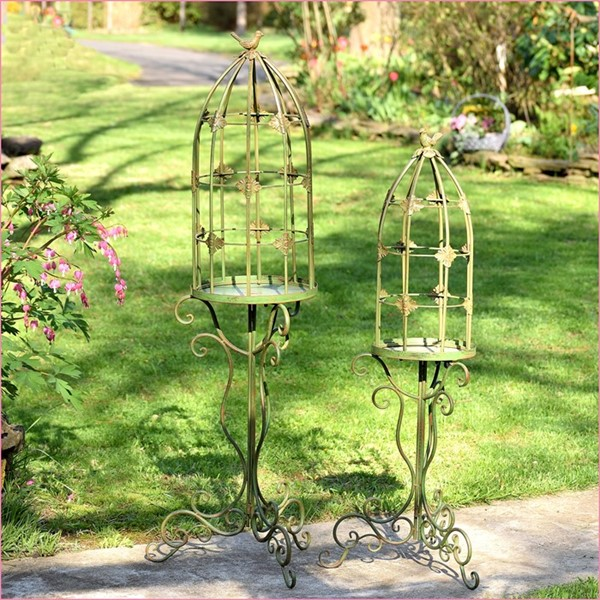 Set of 2 Standing Bird Cage Plant Stands with Iron Bird Details