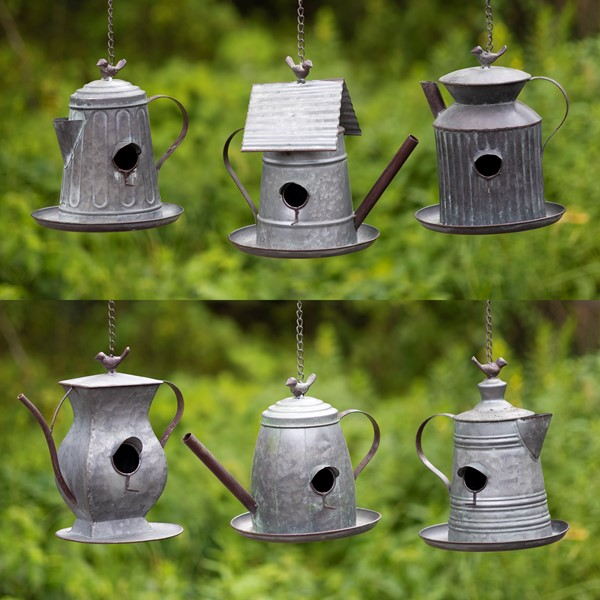 Set of 6 Assorted Style Galvanized Teapot Birdhouses