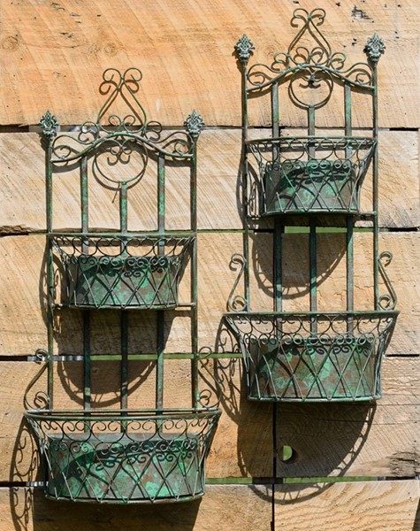 Set of 2 Iron Hanging Dual Wall Plant Baskets in Frosted Green