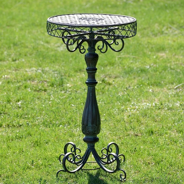 Iron Lattice Plant Stand Table in Metallic