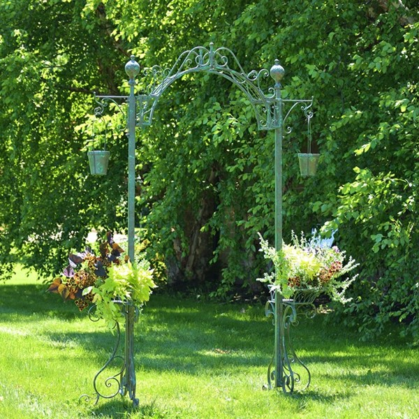 Garden Archway with 2 Hanging Buckets in Antique Green