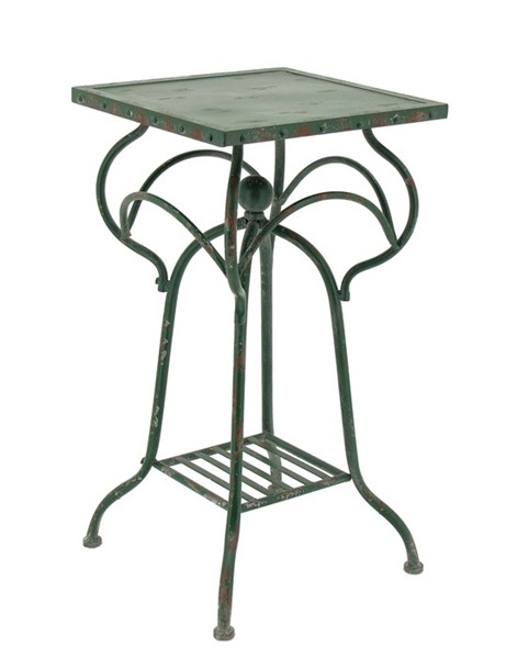 "Square Top Plant Stand ""Paris 1968"" in Green"