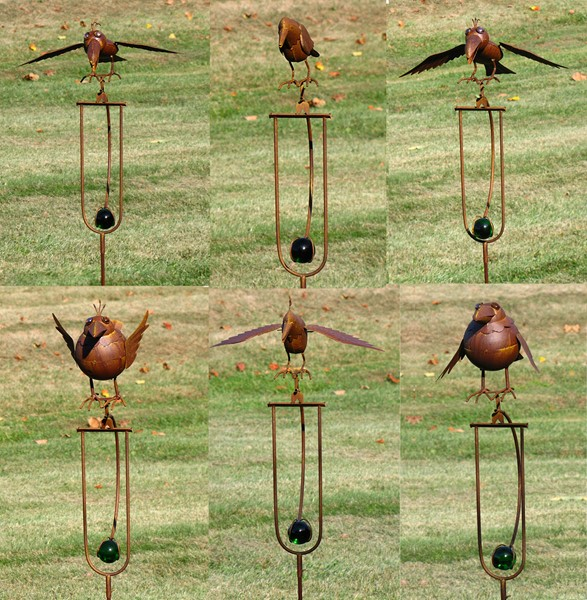 Set of 6 Assorted Style Iron Balance Bird Stakes
