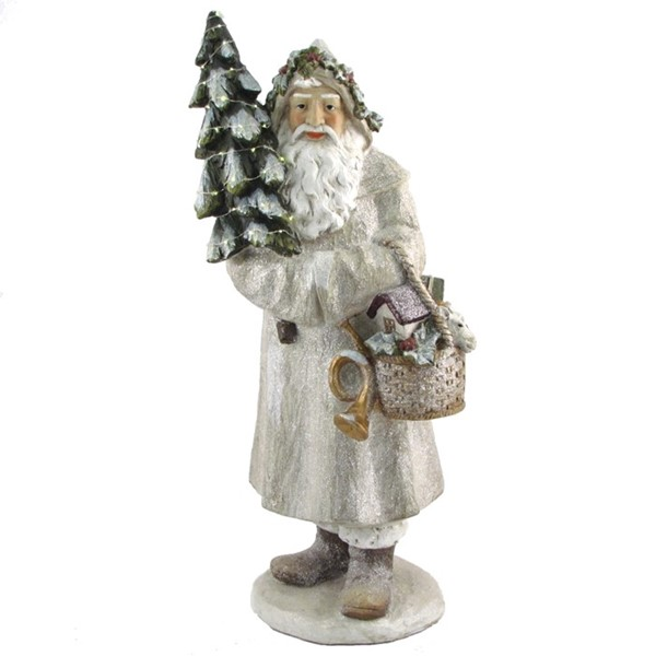Olde World Santa Claus Holding Christmas Tree & Basket